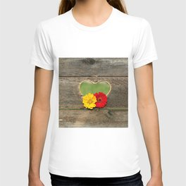 Wooden Heart with Flowers T-shirt