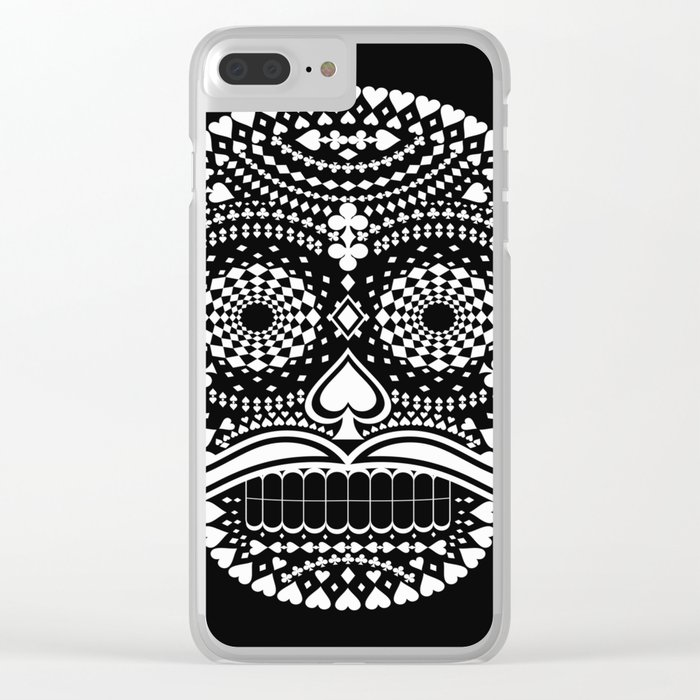 Black Skull  White Suits Clear iPhone Case