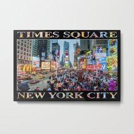 Times Square Tourists (on black) Metal Print