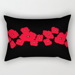 Red Poppies at Night Rectangular Pillow