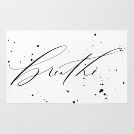 Breathe - Minimal & Splattered Calligraphy Rug