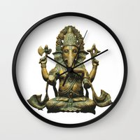 ganesha Wall Clocks featuring Ganesha by Justin Atkins
