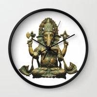 ganesha Wall Clocks featuring Ganesha by Justin Atkins