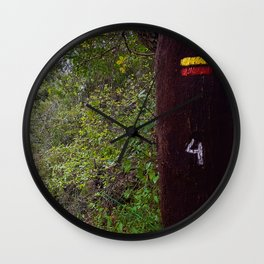 Oak tree with vicentine route sign composed by a yellow and red rectangles Wall Clock