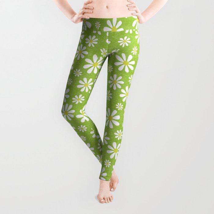 DAISIES ON APPLE GREEN Leggings