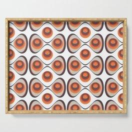 Orange, Brown, and Ivory Retro 1960s Circular Pattern Serving Tray