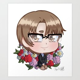 Chibi Jaehee with camellias Art Print