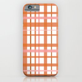 Retro Modern Plaid Pattern Pink Orange White iPhone Case