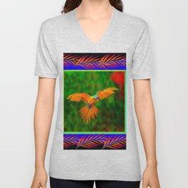 Decorative Flying Golden Blue Macaw Parrot  Black Green  Art Unisex V-Neck