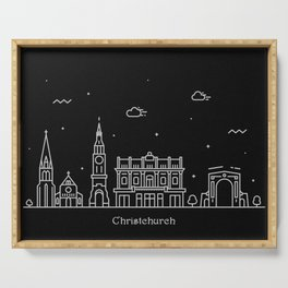 Christchurch Minimal Nightscape / Skyline Drawing Serving Tray