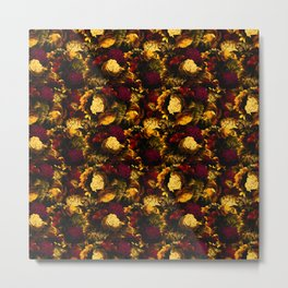 melancholy flowers small seamless pattern 01 edgy ember Metal Print