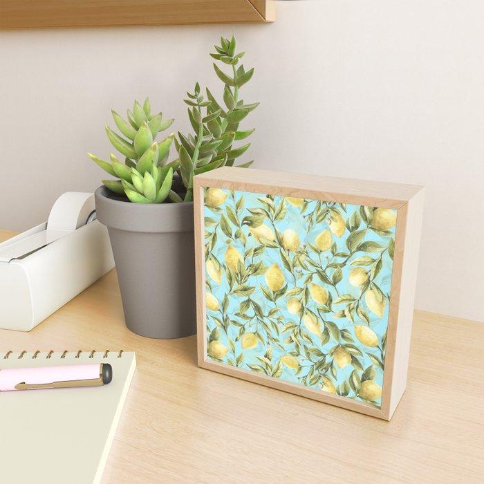 mediterranean summer lemon branches on turquoise Framed Mini Art Print