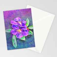 Abstract Lasiandra on textured kaleidoscope Stationery Cards