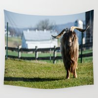 butcher billy Wall Tapestries featuring Long Horned Billy Goat by JLW Photos