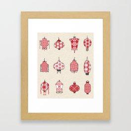 Chinese Lanterns Doodle Framed Art Print
