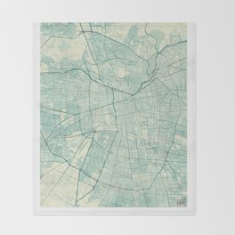 Santiago Map Blue Vintage Throw Blanket