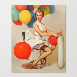 Vintage Pin Up Girl and Colorful Balloons Canvas Print