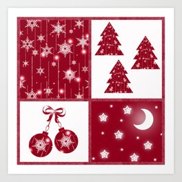 Bright red and white Christmas background Art Print