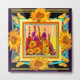 Victorian Style Hollyhock Sunflowers Butterflies Black Art Metal Print