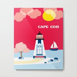 Cape Cod, Massachusetts - Skyline Illustration by Loose Petals Metal Print