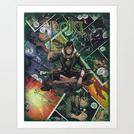 Loki God of Mischief Comic Art Collage Art Print