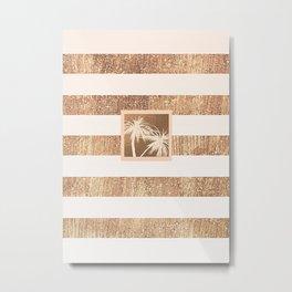 Copper & Cream Stripes & White Palm Trees Metal Print