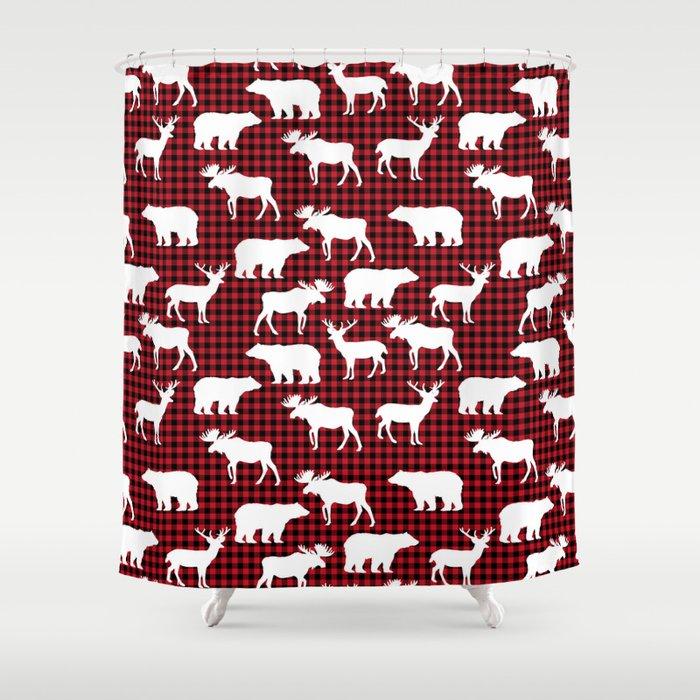 Plaid Camping Animals Minimal Bear Moose Deer Nursery Decor Gender Neutral Woodland Shower Curtain