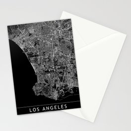 Los Angeles Black Map Stationery Cards