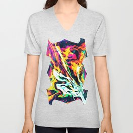 Fluid Abstract 34; Panic Unisex V-Neck