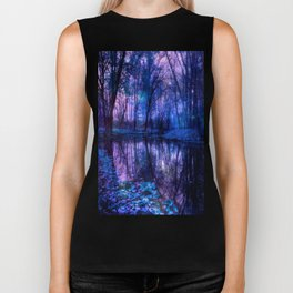 Enchanted Forest Lake Purple Blue Biker Tank