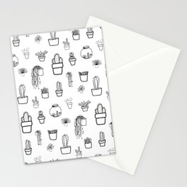 Cacti and Succulents Line Drawing Pattern Stationery Cards