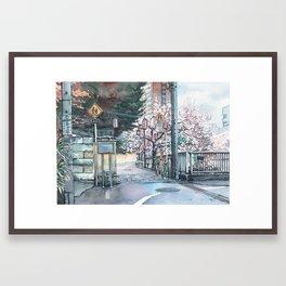 Corner Sakura Framed Art Print