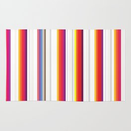 Colorful Stripes Barcode 80s Rug
