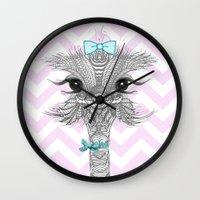 ostrich Wall Clocks featuring OsTRICH by Monika Strigel®