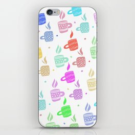 Modern pastel winter holidays coffee hand drawn pattern iPhone Skin
