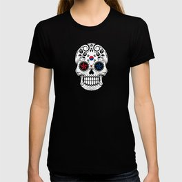 Sugar Skull with Roses and Flag of South Korea T-shirt