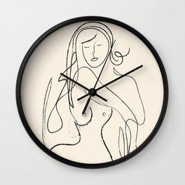 Abstract Minimalist Nude Woman II Wall Clock