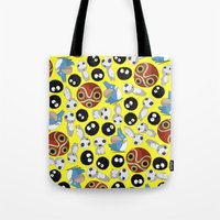 ghibli Tote Bags featuring Ghibli Pattern by pkarnold + The Cult Print Shop