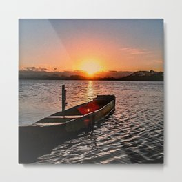 Boat at sunset Metal Print