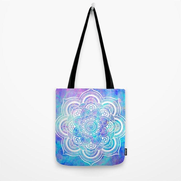 Mandala Pink Lavender Aqua Galaxy Space Tote Bag