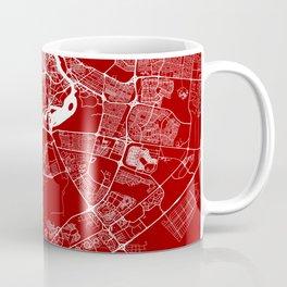 Red City Map of Dubai, UAE Coffee Mug