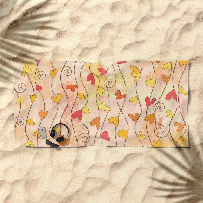 Heart and Spiral Botanic Pattern III - Fall Love Beach Towel