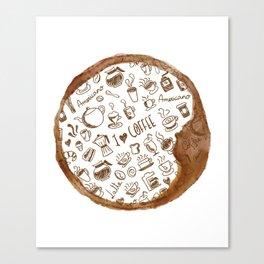 Inside an imprint of Coffee - I love Coffee Canvas Print