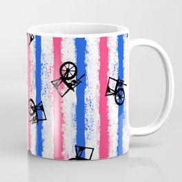 pink no blue bounding spinning wheel stripes Coffee Mug