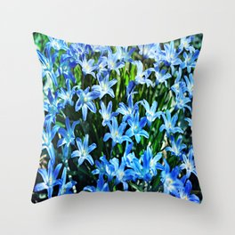 Blue Glory Snow Flowers Throw Pillow