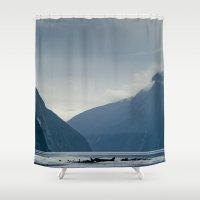 new zealand Shower Curtains featuring New Zealand  by janisratnieks