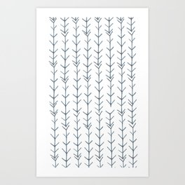Twigs and branches freeform gray Art Print