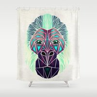 gorilla Shower Curtains featuring gorilla by Manoou