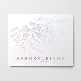 BRECKENRIDGE // Colorado Trail Map Rainbow Color Runs Minimalist Ski & Snowboard Illustration Metal Print