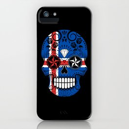 Sugar Skull with Roses and Flag of Iceland iPhone Case